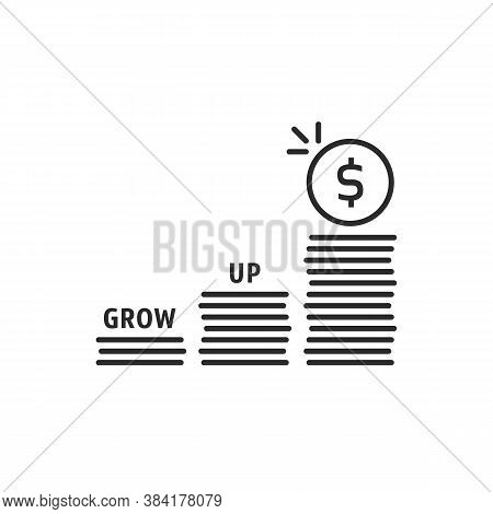 Benefit Grow Up Like Stack Of Money. Flat Stroke Linear Inflation Logotype Graphic Art Design Illust