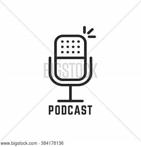 Black Microphone Logo For Podcast. Flat Stroke Style Trend Modern Lineart Old Mic Logotype Graphic A