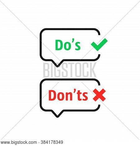 Thin Line Positive And Negative Marks. Flat Checkbox Or Complaint Logotype Graphic Red And Green Sim
