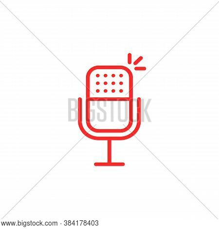 Thin Line Red Microphone For Podcast. Concept Of Entertainment Or Communication. Flat Stroke Style T