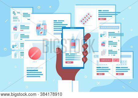 Concept Of Online Pharmacy Or Medicament Delivery. Order In Internet Drugstore By Mobile App. Client