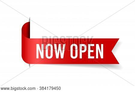 Now Open Tag. Glossy Red Ribbon. Grand Opening Flyer.