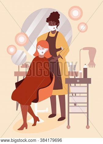 Coronavirus Prevention In Beauty Salons. Hairdresser Makes Hair Cut For A Woman Client, Both Wearing