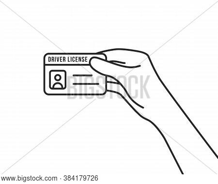 Hand Holding Thin Line Driver License. Flat Lineart Style Trendy Modern Logo Graphic Stroke Id Card