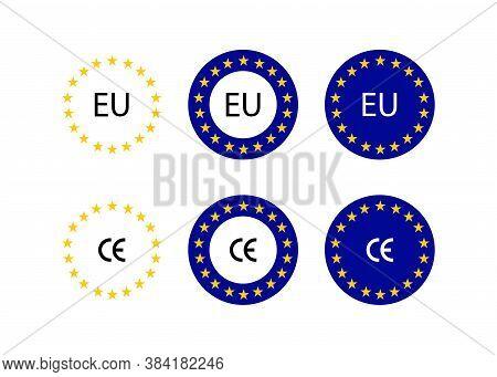 Europe Union Sign. Europe Flag With Ce Mark. Eu Flag. Vector Illustration