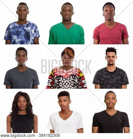 Studio Shot Collage Of Mixed African People