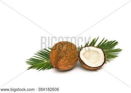 Coconut (cocos Nucifera) With Half And Palm Leaves On A White Background With Space For Text