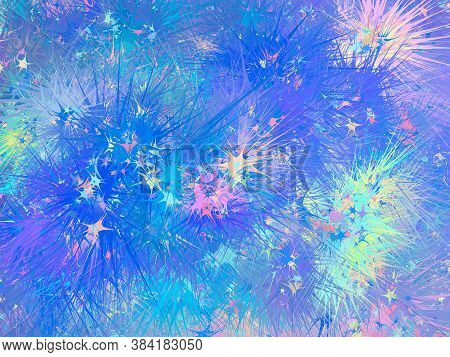 Unicorn Background With Rainbow Mesh. Fantasy Gradient Backdrop With Hologram. Vector Illustration F