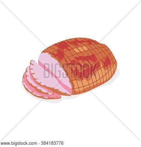 Smoked Delicious Sliced Ham. Delicious Gastronomic Meet Product. Butchery Shop, Farm Market Or Proce