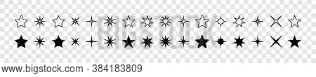 Stars. Star Vector Icons. Stars Collection. Black Stars, Isolated. Star Icons. Star In Modern Flat D