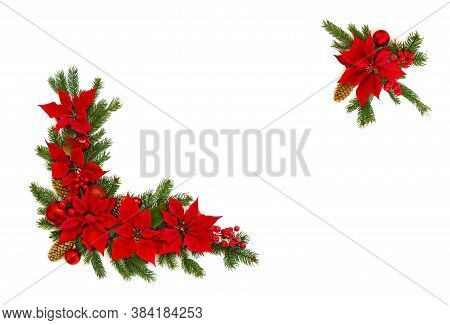 Christmas Decoration. Frame Of Flower Of Red Poinsettia, Branch Christmas Tree, Christmas Ball, Red