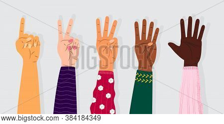 Hand Gesture Sign Vector. Set Of Counting On Fingers. Five Wrist Icons With Finger Count In Cartoon