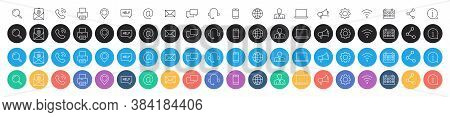 Set Of 80 Business Card Icons. Name, Phone, Mobile, Location, Place, Mail, Fax, Web. Contact Us, Inf