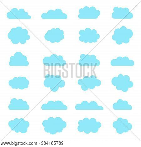 Cloud Icons. Blue Shapes Of Sky In Cartoon Style. Bubbles And Balloons On White Background. Set Of A