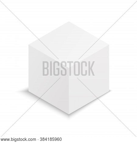 Cube 3d. Mockup Of White Box. Blank Square Package With Shadow. Paper Or Carton Isometric Template F