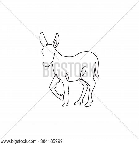 One Single Line Drawing Of Walking Cute Donkey For Farm Logo Identity. Little Horse Mascot Concept F