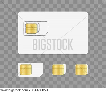 Sim Card For Mobile With Chip. Simcard For Identity On Phone. Nano And Micro Card For Corporate Comm