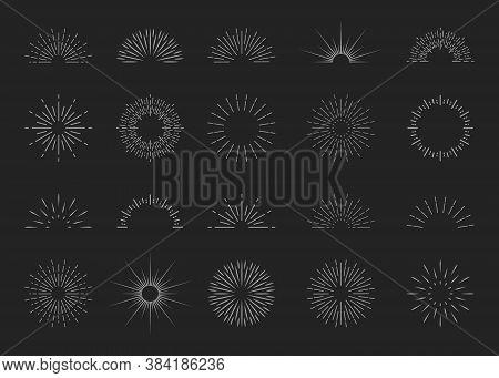 Sunburst Logos. Starburst Icons. Sun Burst With Shine In Line Style. Explosion With Rays. Retro Embl