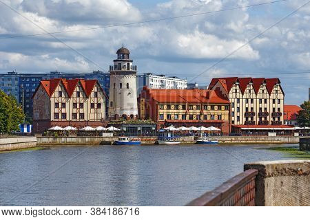Kaliningrad, Russia - August 22, 2019: View Of The Famous Ethnographic District Known As Fishing Vil
