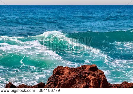 View Of The Atlantic Ocean And Morocco Coast In Sunny Day.