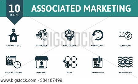 Associated Marketing Icon Set. Collection Contain Affiliate, Link, Agreement, Tracking, Code, Advert