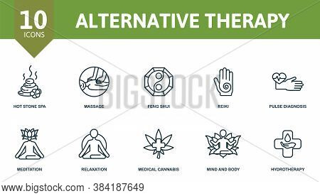 Alternative Therapy Icon Set. Collection Contain Reiki, Pulse, Diagnosis, Feng, Shui, Hot, Stone, Sp