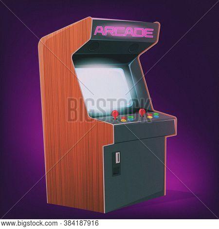 retro cartoon illustration of an arcade station