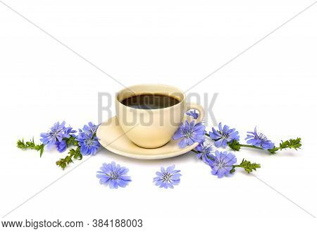 Cup Of Drink With Chicory And Flowers Chicory (cichorium Intybus) On A White Background