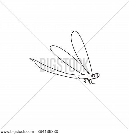 One Single Line Drawing Of Cute Dragonfly For Company Logo Identity. Odonata Animal Mascot Concept F