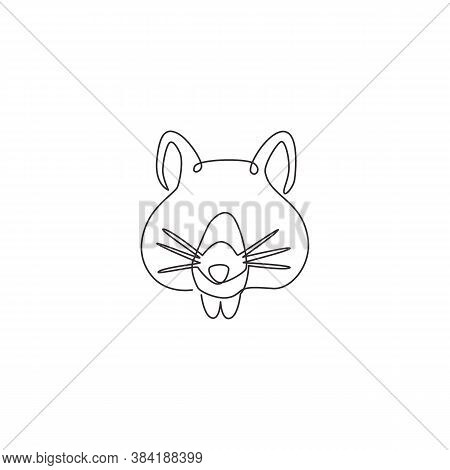 One Continuous Line Drawing Of Adorable Hamster Head For Logo Identity. Rat Family Animal Mascot Con