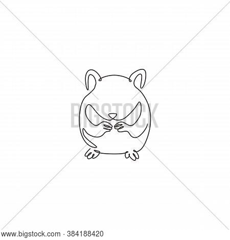 One Single Line Drawing Of Cute Hamster Eating Seeds For Domestic Logo Identity. Rodent Animal Masco