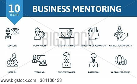Business Mentoring Icon Set. Collection Contain Online Training, Occupation, Development And Over Ic