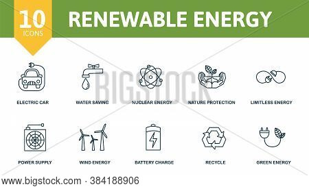 Renewable Energy Icon Set. Collection Contain Wind Energy, Power Supply, Battery Charge, Recycle And