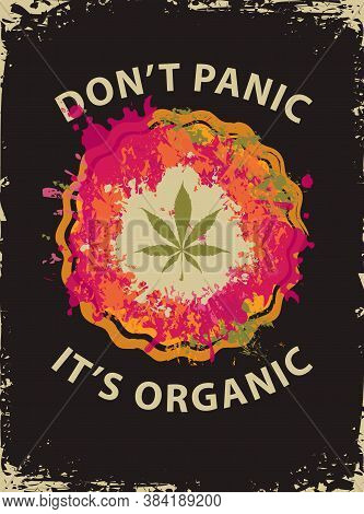 Banner With Cannabis Leaf In A Bright Abstract Pizza. Vector Illustration On The Topic Of Legal Or I