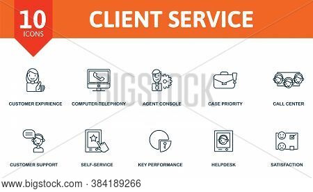 Client Service Icon Set. Collection Contain Agent Console, Call Center, Case Priority, Computer-tele