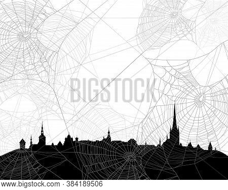 Mysterious Medieval City Skyline Among Spider Web - Halloween Theme Black And White Vector Copy Spac