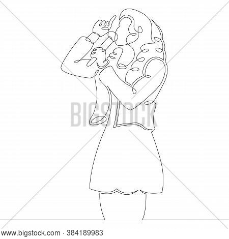 One Continuous Drawing Line Logo Portrait Young Woman Singing With A Microphone. Host Speaking At Th