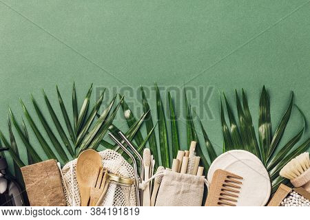 Zero Waste Concept. Cotton Bag, Bamboo Cultery, Glass Jar, Bamboo Toothbrushes, Hairbrush And Straws