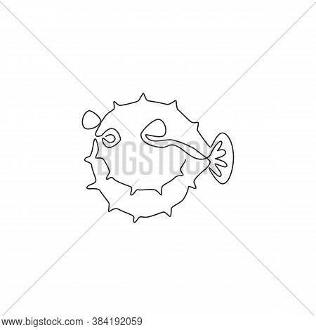 One Single Line Drawing Of Beauty Pufferfish For Aquatic Company Logo Identity. Balloon Fish Mascot