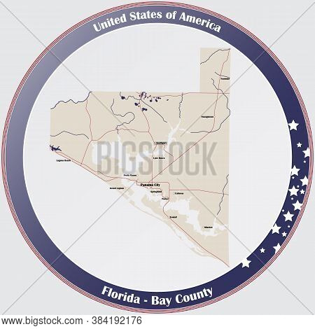 Round Button With Detailed Map Of Bay County In Florida, Usa.