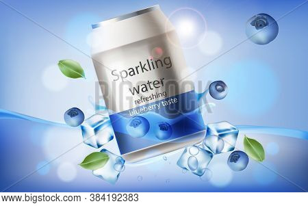 Can Of Refreshing Sparkling Water With Blueberry Taste Submerged In Water With Ice Cubes, Mint Leave