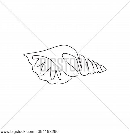 One Continuous Line Drawing Of Cute Sea Snail Shell For Marine Logo Identity. Seashell Mascot Concep