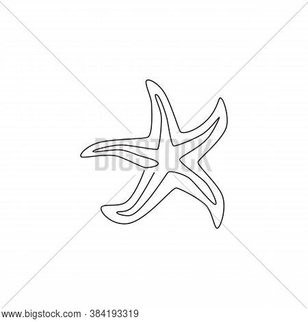 Single Continuous Line Drawing Of Adorable Sea Star For Nautical Logo Identity. Starfish Animal Masc