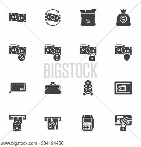 Money Related Vector Icons Set, Business And Finance Modern Solid Symbol Collection, Filled Style Pi