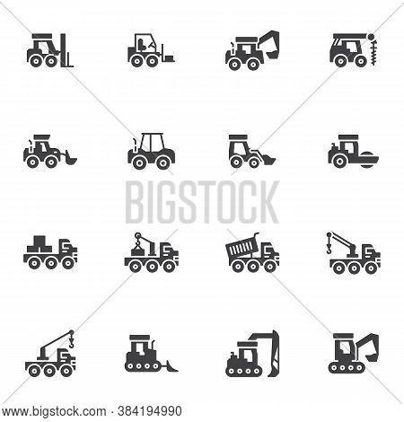 Construction Vehicles Vector Icons Set, Modern Solid Symbol Collection, Filled Style Pictogram Pack.