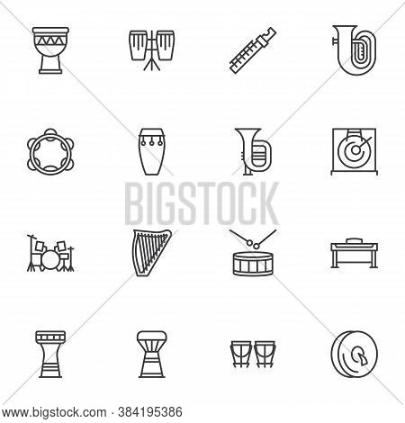 Musical Instruments Line Icons Set, Outline Vector Symbol Collection, Linear Style Pictogram Pack. S