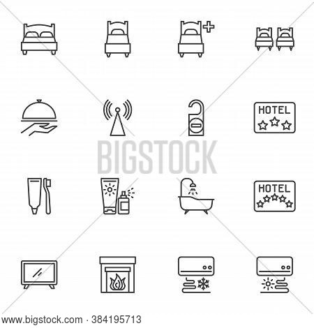 Hotel Service Line Icons Set, Outline Vector Symbol Collection, Linear Style Pictogram Pack. Signs,