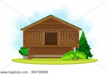 Old Norwegian House With Turfy Roof Covered With Grass As Distinctive Attribute Of Norway Vector Ill