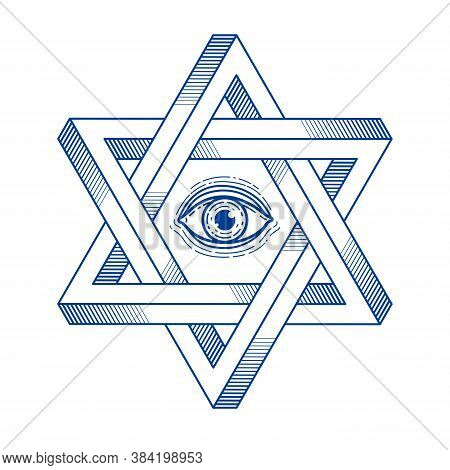 Jewish Hexagonal Star With All Seeing Eye Of God Sacred Geometry Religion Symbol Created From Two Di