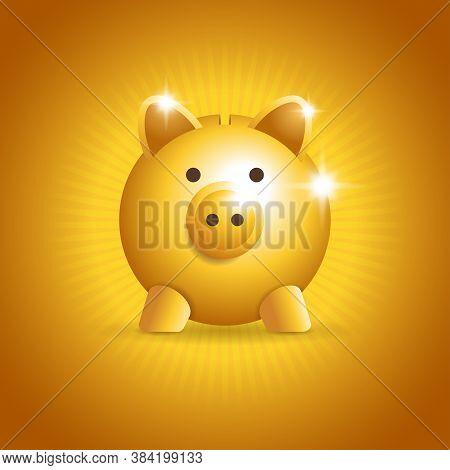 Piggy Bank In Golden 3d Style On Burst Background - Finance, Economy, Banking, Deposit Concept - Iso